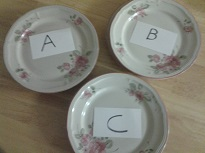 Three stacks of plates labeled A B and C